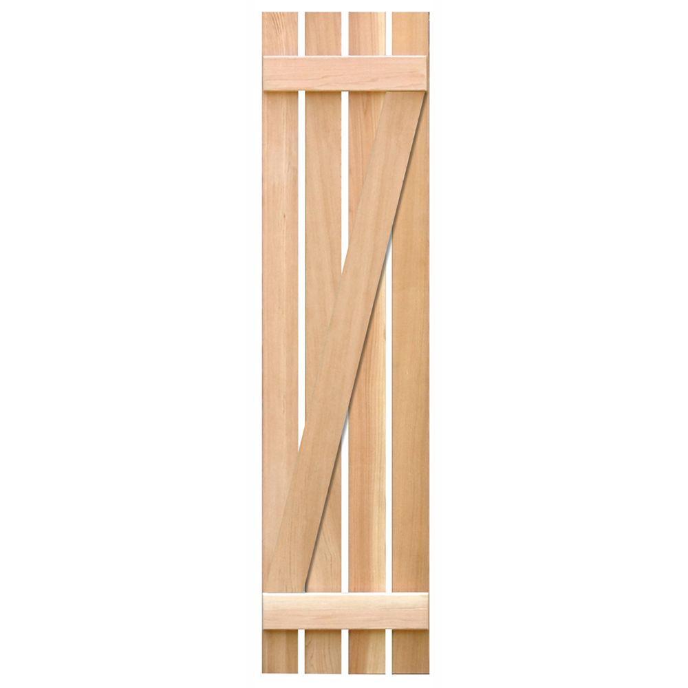 Pinecroft 15 in. x 55 in. Pine Board & Batten Z Exterior Shutters Pair