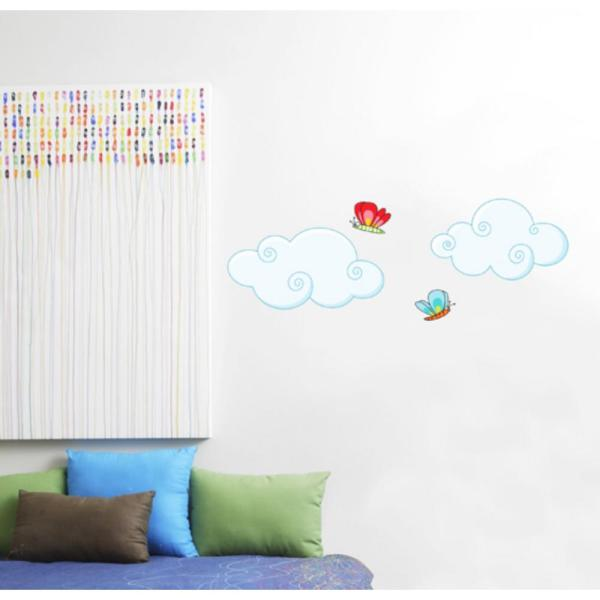 Adzif (36 in x 13 in) Multi-Color ''Clouds'' Kids Wall Decal