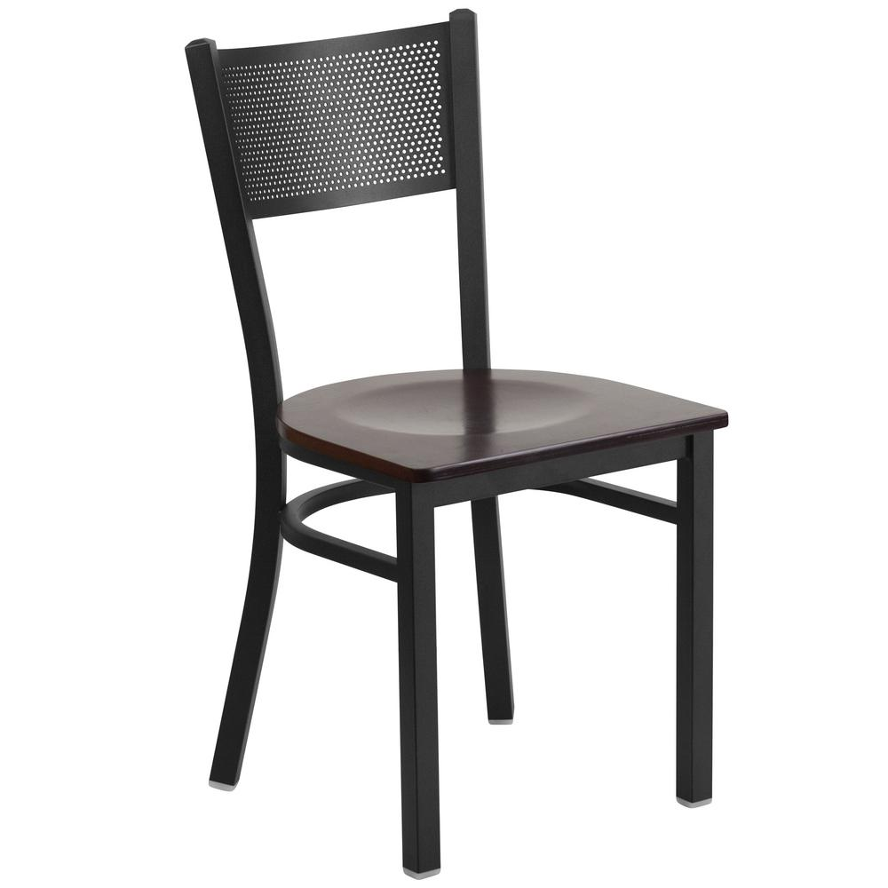 Hercules Series Black Grid Back Metal Restaurant Chair - Walnut Wood