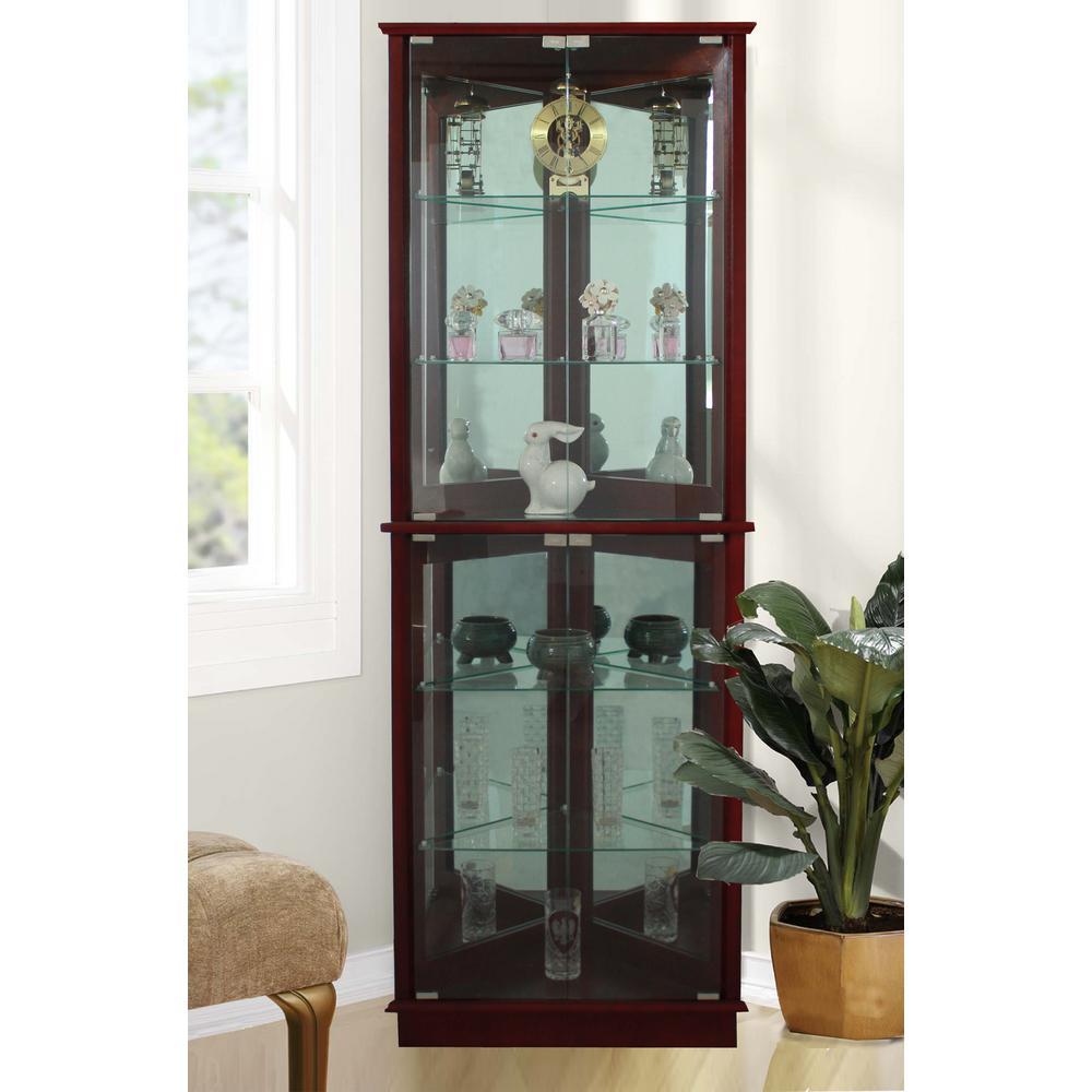 Floor Standing Walnut 3-Sided Lighted Corner Curio Cabinet