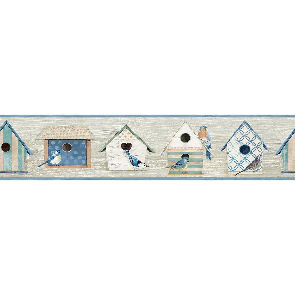 Cottage Chic Birdhouses Blue Wallpaper Border Sample