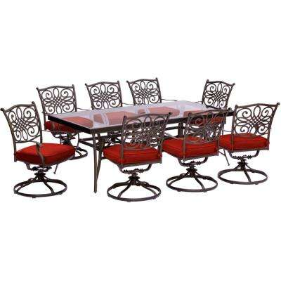Traditions 9-Piece Aluminum Outdoor Dining Set with Swivel Rockers with Red Cushions and Glass-top Table