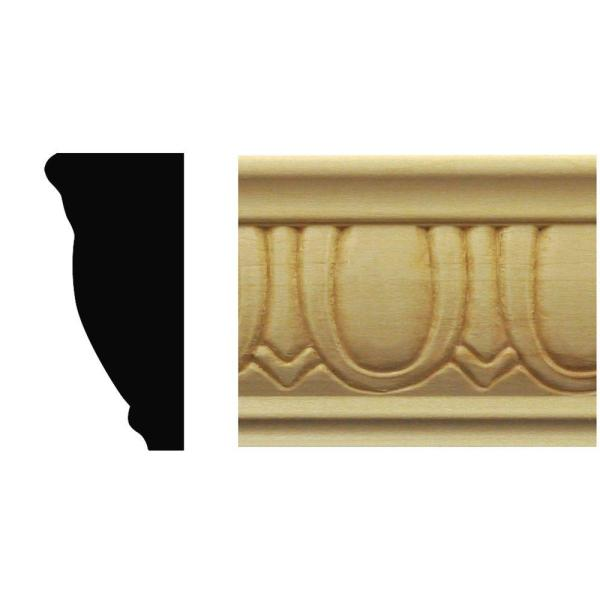 7/8 in. x 1-7/8 in. x 8 ft. Basswood Egg and Dart Chair Rail Moulding