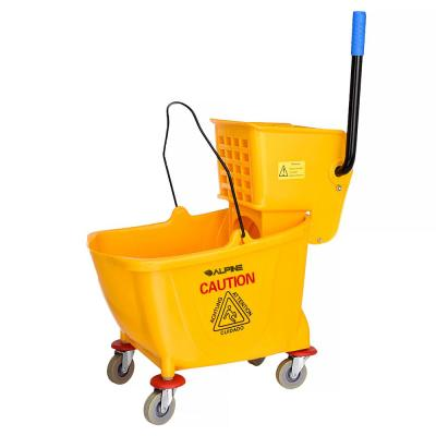Mop Bucket With Side Press Wringer /& Wheels 31 Quart Yellow Plastic Cleaning