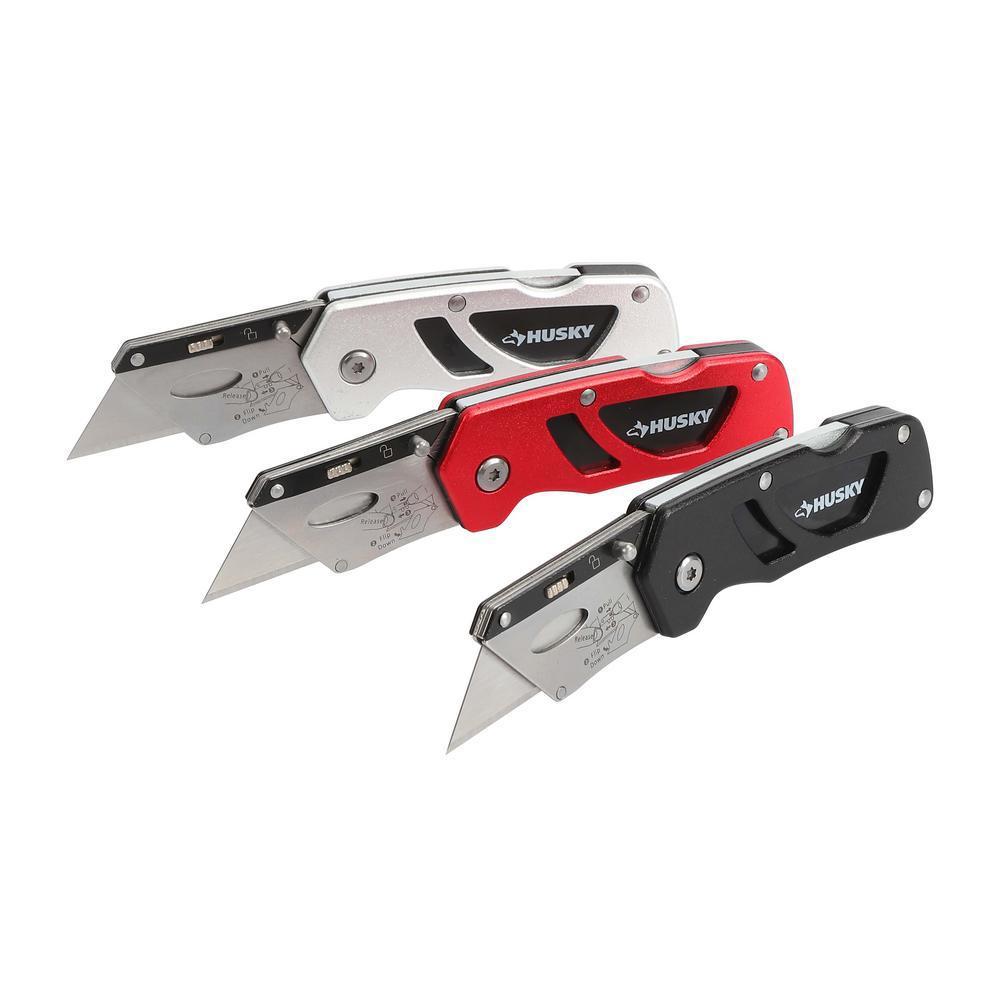 Husky Husky Compact Folding Lock-Back Utility Knife (3-Piece)