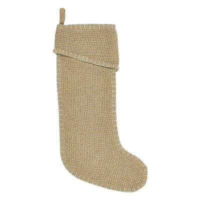 20 in. Cotton Natural Nowell Farmhouse Christmas Decor Stocking