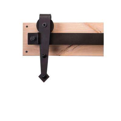 84 in. Dark Bronze Sliding Barn Door Hardware Kit with Arrow Hangers and Industric Pull