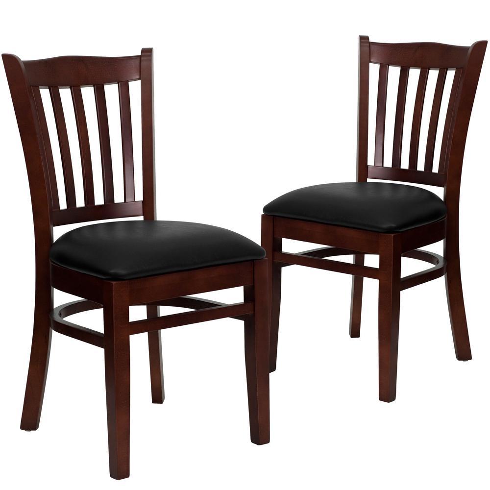 Black Vinyl Seat/Mahogany Wood Frame Restaurant Chairs (Set of 2)