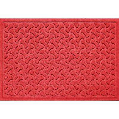 Solid Red 24 in. x 36 in. Dog Bone Repeat Polypropylene Pet Mat