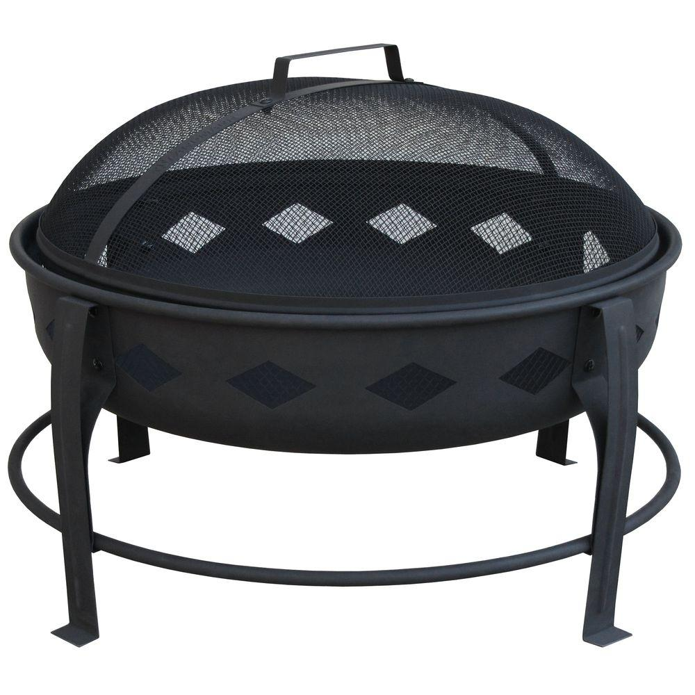 Diamond Steel Fire Pit in Black - Traeger 27.5 In. Steel Outdoor Fire Pit-OFP001 - The Home Depot