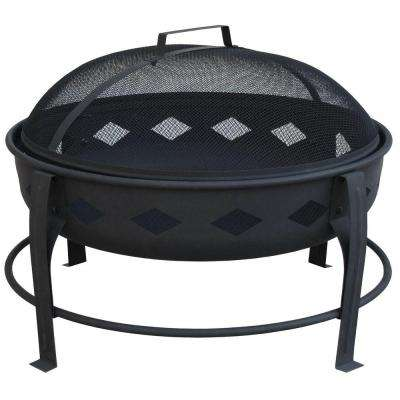 Bromley 24 in. Diamond Steel Fire Pit in Black