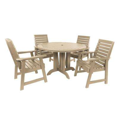 Weatherly Tuscan Taupe 5-Piece Recycled Plastic Round Outdoor Dining Set