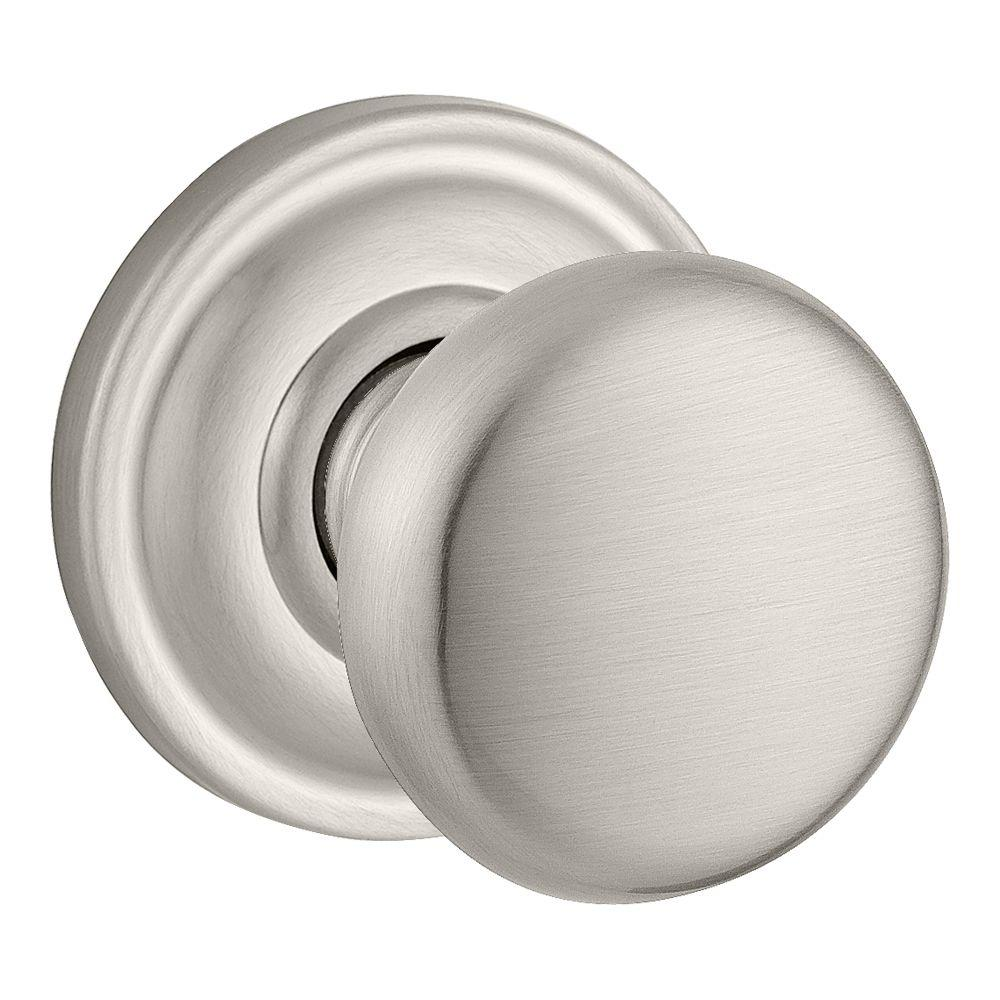 Baldwin Reserve Round Half-Dummy Knob with Traditional Round Rose in Satin Nickel Finish