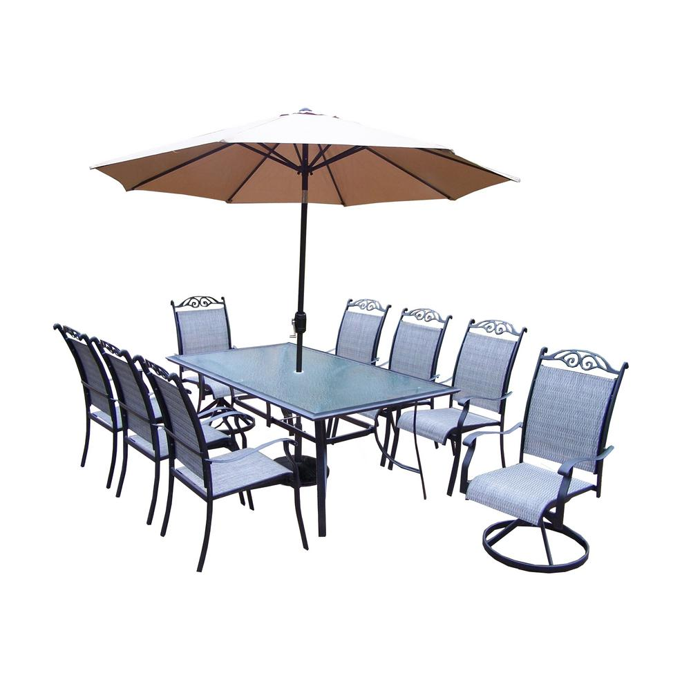 11-Piece Aluminum Outdoor Dining Set and Champagne Umbrella with Black Pole