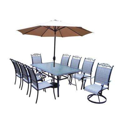 11 Piece Aluminum Outdoor Dining Set And Champagne Umbrella With Black Pole
