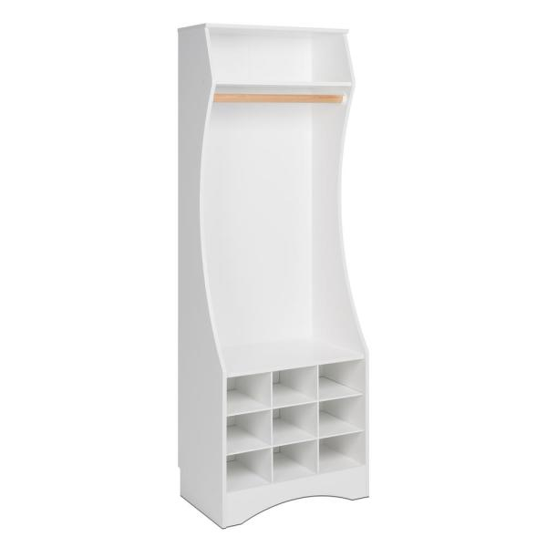 White Compact Wardrobe with Shoe Storage