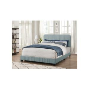 Mid-Century All-in-One Queen Bed with Channeled Headboard and Footboard in Dupree Delft Blue