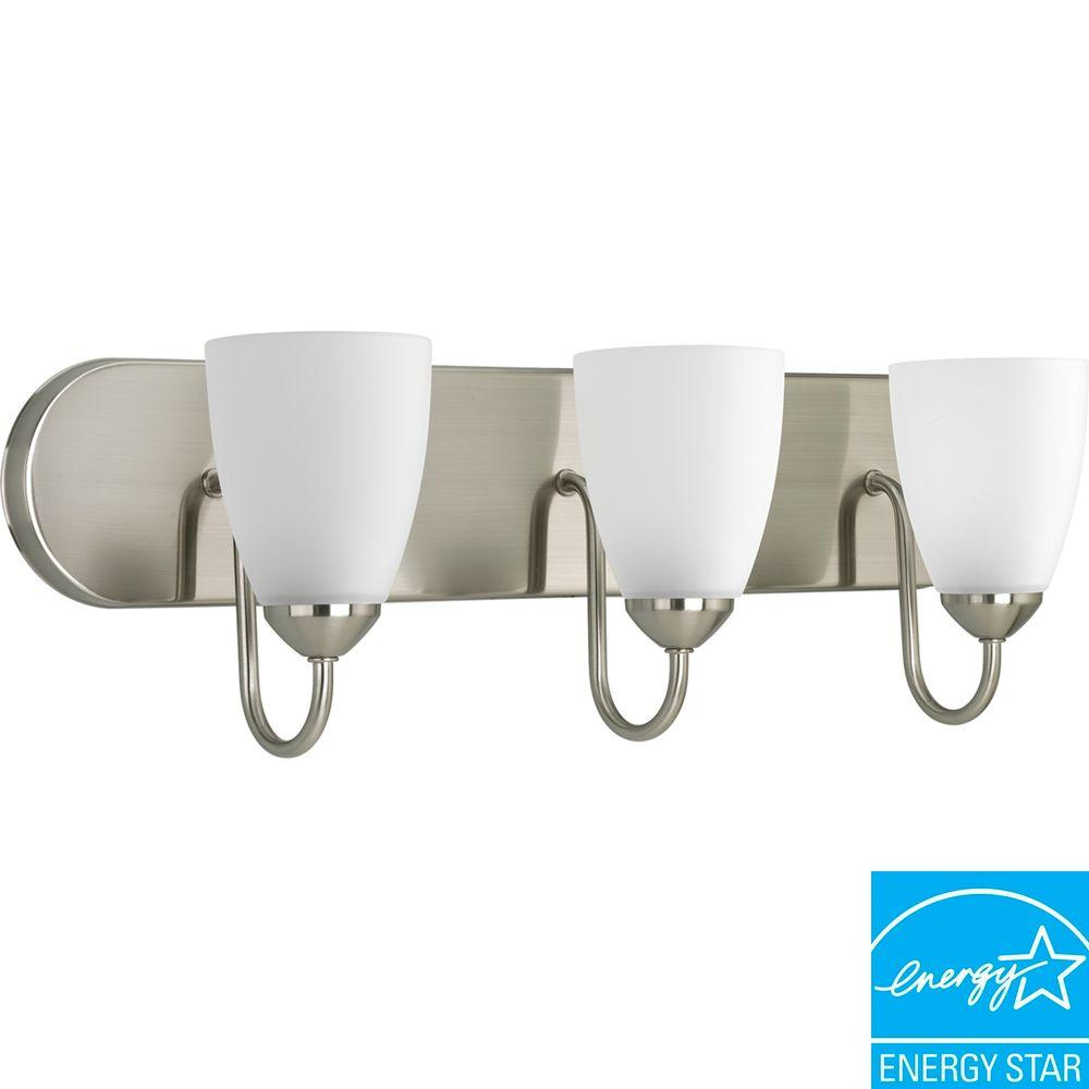 Progress Lighting Gather 3-Light Brushed Nickel Fluorescent Bathroom ...