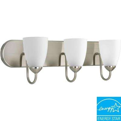 Gather 3-Light Brushed Nickel Fluorescent Bathroom Vanity Light with Glass Shades