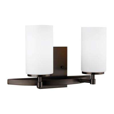 Alturas 13.56 in. 2-Light Brushed Oil Rubbed Bronze Vanity Light