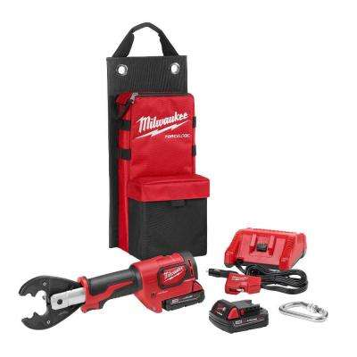 M18 18-Volt Lithium-Ion FORCE LOGIC 6-Ton Cordless Utility Crimping Kit with D3 Grooves and Fixed BG Die