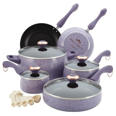 Signature Porcelain 15-Piece Aluminum Nonstick Cookware Set in Lavender Speckle