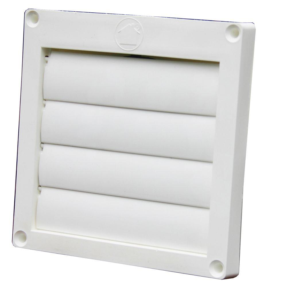 "FAN VENT COVER 4"" inch Louvered Plastic Flush Exhaust Hood ..."