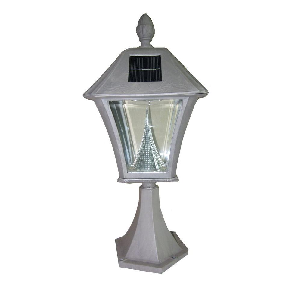 Gama Sonic 17 in. Baytown Post Mount Outdoor Grey 6 LED Solar Lamp-DISCONTINUED
