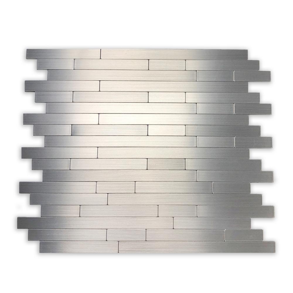 DIP Mini-Silver Subway Self-Adhesive Metallic Mosaic Aluminum Composite Tile Backsplash Case Pack