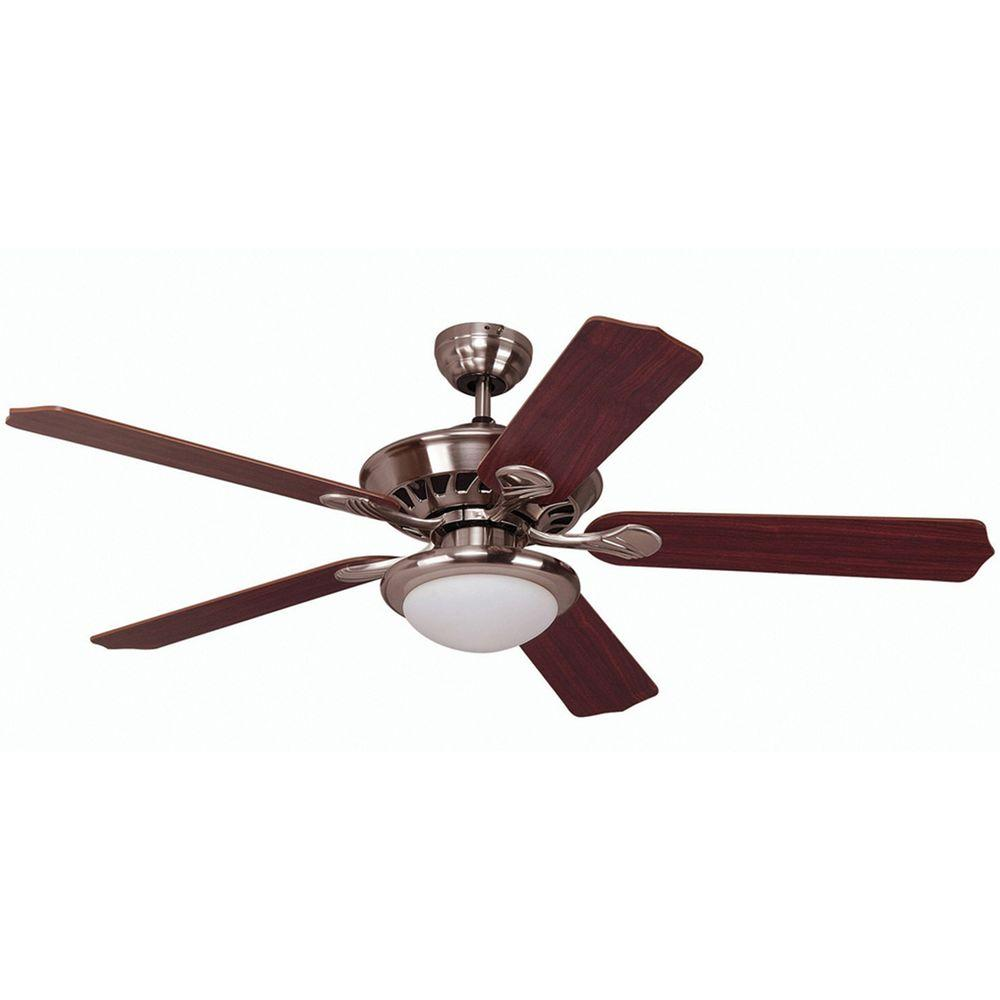 Yosemite Home Decor Lindsey Collection 52 in. Indoor Brushed Steel Ceiling Fan with Light Kit-DISCONTINUED