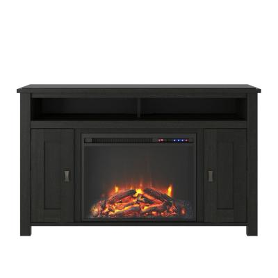 Brownwood 47.69 In. Electric Fireplace TV Stand in Black Oak