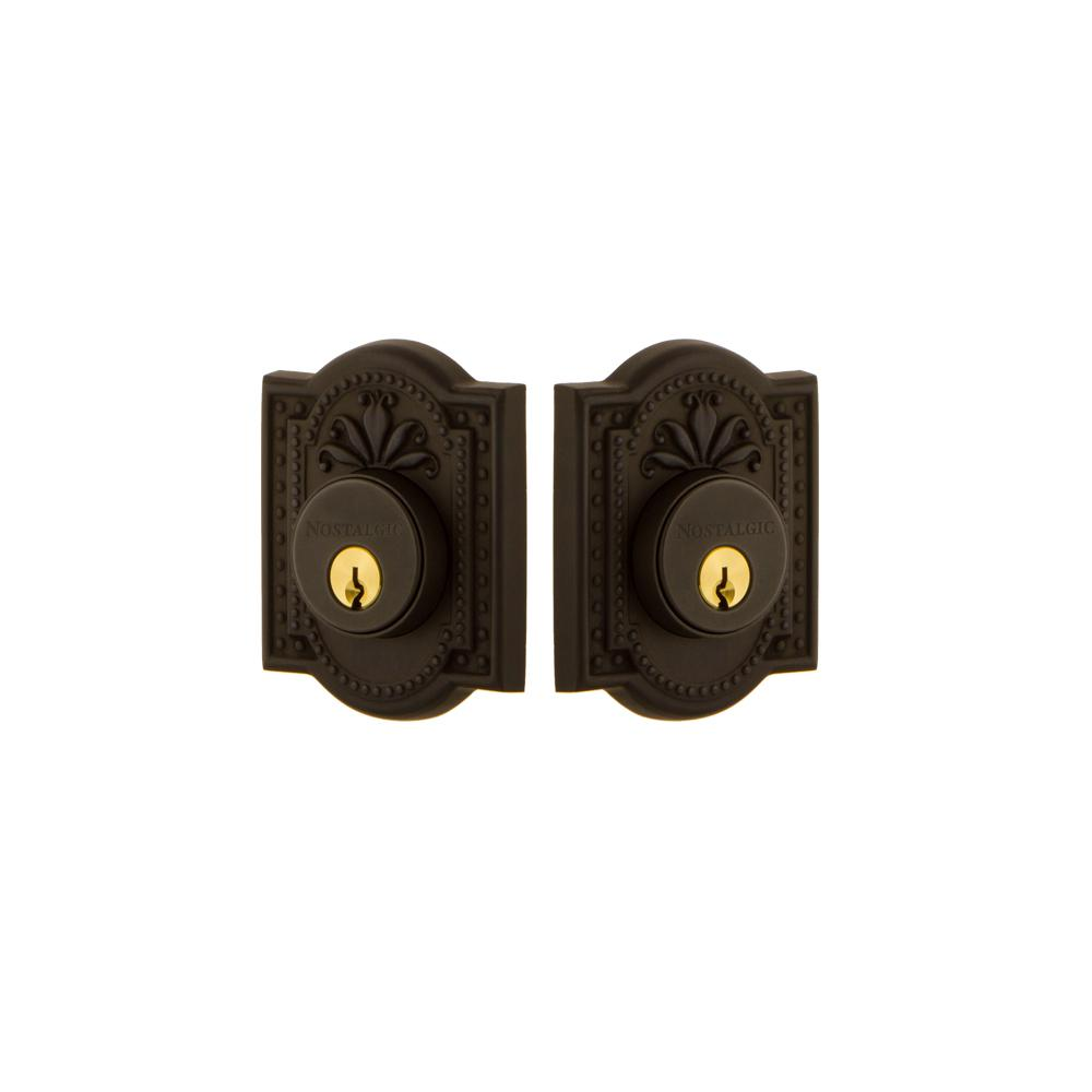 Meadows Plate 2-3/8 in. Backset Double Cylinder Deadbolt in Oil-Rubbed Bronze