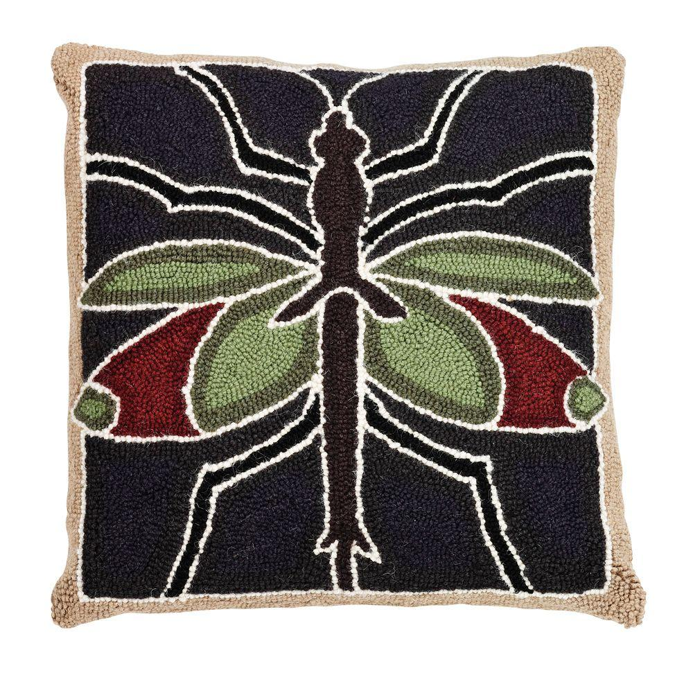 Home Decorators Collection 18 in. W Insect Brown Green and Red Hook Pillow