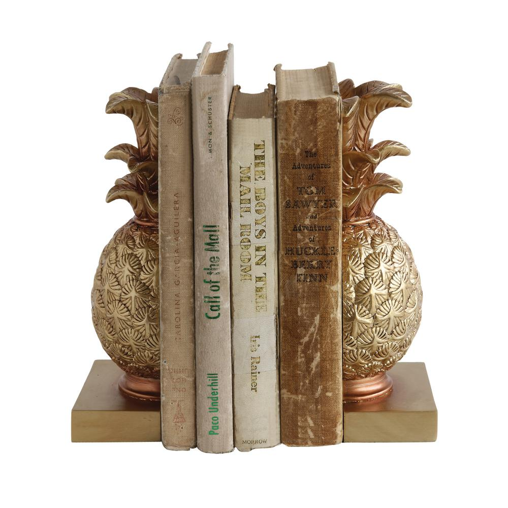8-7/8 in. H Resin Pineapple Bookends Set
