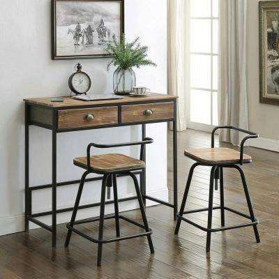 Urban Loft 3-Piece Natural Pine Breakfast Table and Two Swivel Stools