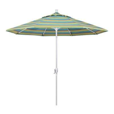 9 ft. Matted White Aluminum Push Button Tilt Crank Lift Market Patio Umbrella in Astoria Lagoon Sunbrella