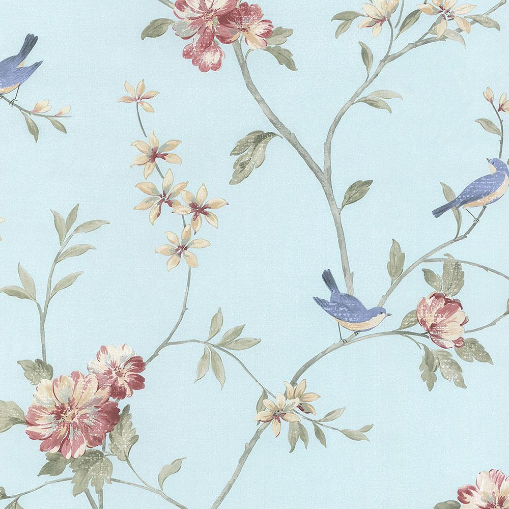 Norwall Floral Bird Sidewall Wallpaper Hm26329 The Home Depot