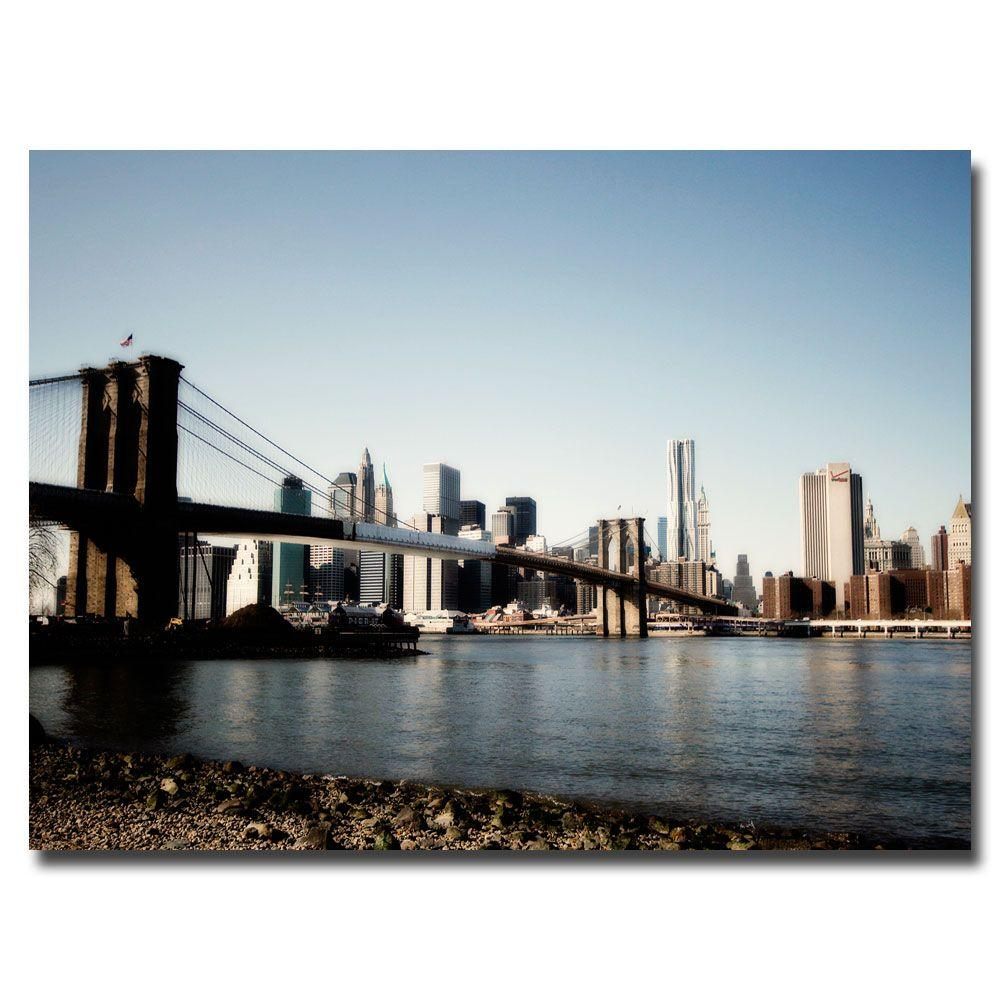 22 in. x 32 in. Brooklyn Bridge Canvas Art