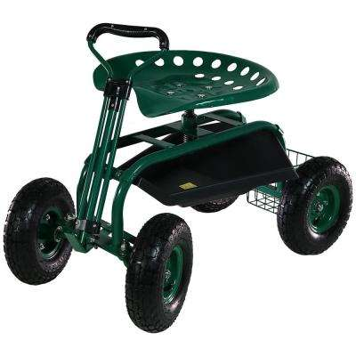 Green Steel Rolling Garden Cart with Extendable Steering Handle, Swivel Seat and Basket