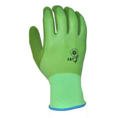 Medium Latex Aqua Gardening Women's Gloves with Double Microfoam Water Resistant Palm (6-Pack)