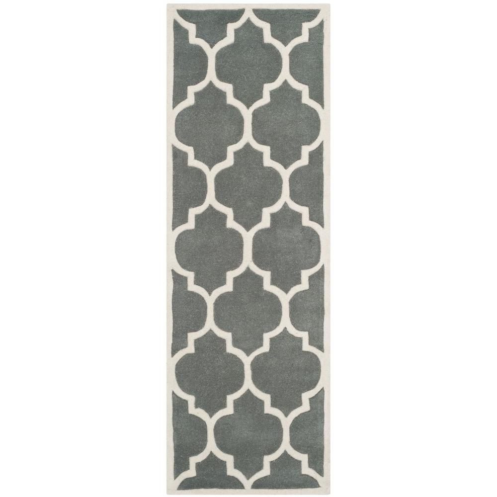 Safavieh Chatham Dark Grey/Ivory 2 ft. 3 in. x 13 ft. Runner