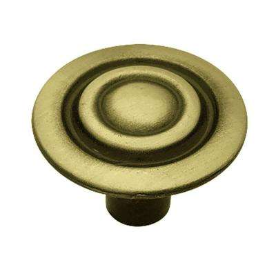 1-1/8 in. (28mm) in. Antique Brass Target Round Cabinet Knob