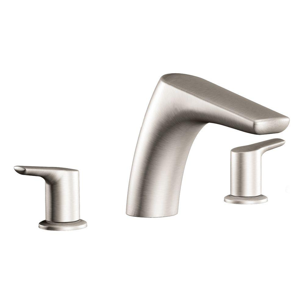MOEN Method 2-Handle Low Arc Roman Tub Faucet in Brushed Nickel ...