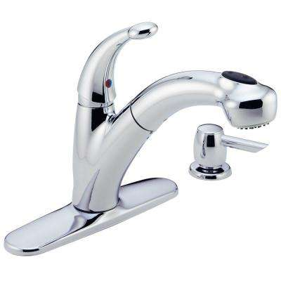 Cicero Single-Handle Pull-Out Sprayer Kitchen Faucet with Soap Dispenser in Chrome