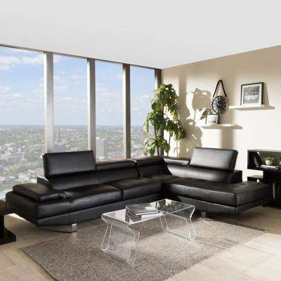 Selma 2 Piece Modern Black Faux Leather Upholstered Right Facing Chase Sectional  Sofa