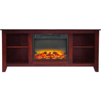 Santa Monica 63 in. Electric Fireplace and Entertainment Stand in Cherry with Enhanced Log Display