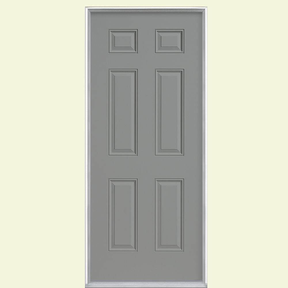 Masonite 36 in. x 80 in. 6-Panel Left Hand Inswing Painted Smooth Fiberglass Prehung Front Door No Brickmold, Silver Cloud