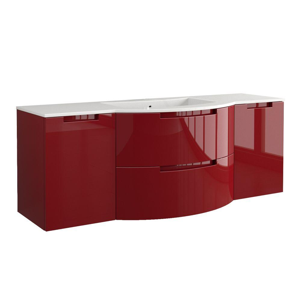 LaToscana Oasi 67 in. Bath Vanity in Glossy Red with Tekorlux Vanity Top in White with White Basin