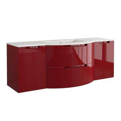 Oasi 67 in. Bath Vanity in Glossy Red with Tekorlux Vanity Top in White with White Basin