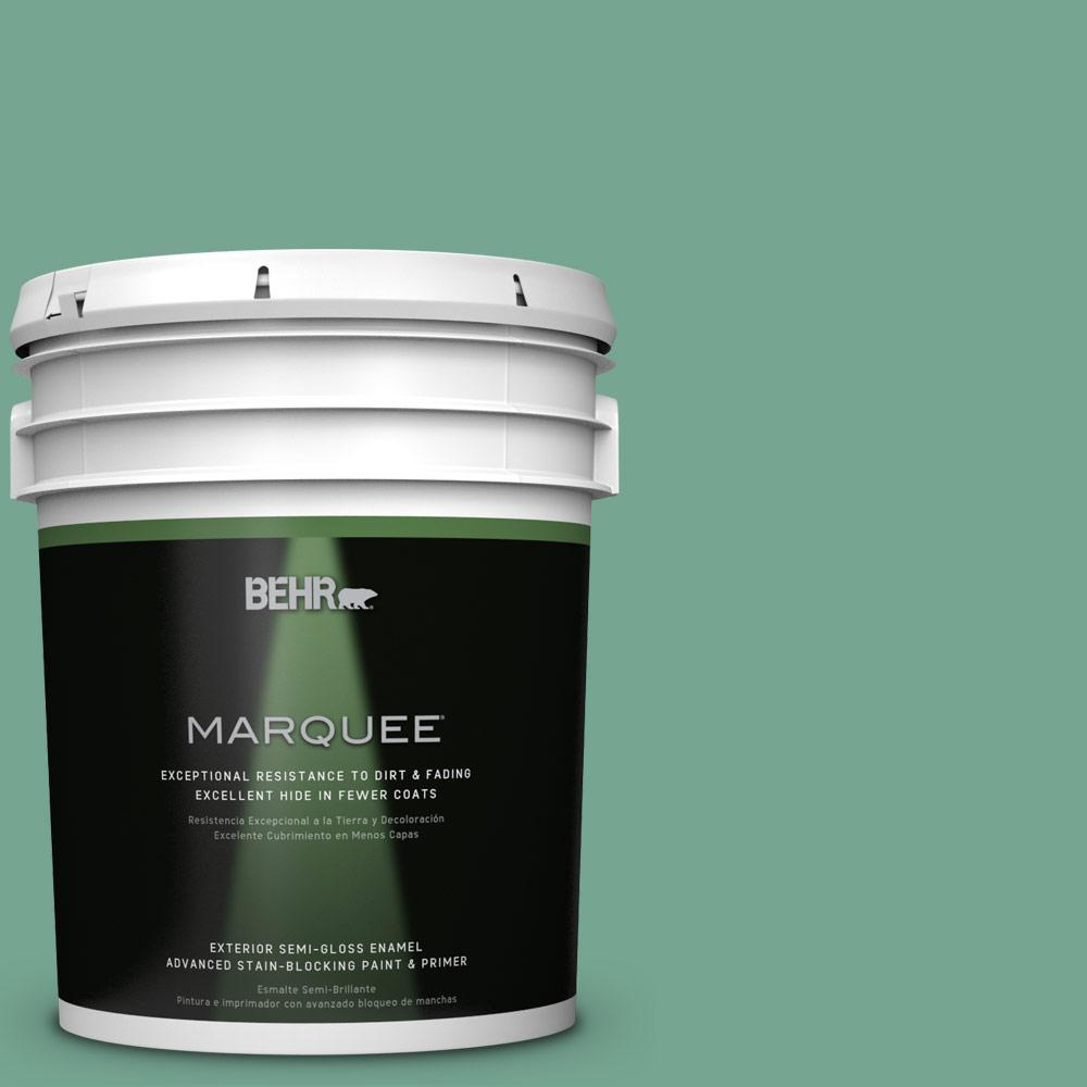 BEHR MARQUEE 5-gal. #M420-5 Free Green Semi-Gloss Enamel Exterior Paint